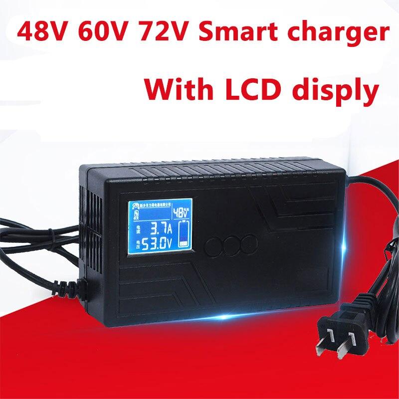 Cargador de batería de plomo y ácido LiFepo4 de ion de litio de 48V 60V 72V con pantalla LCD para scooter ebike