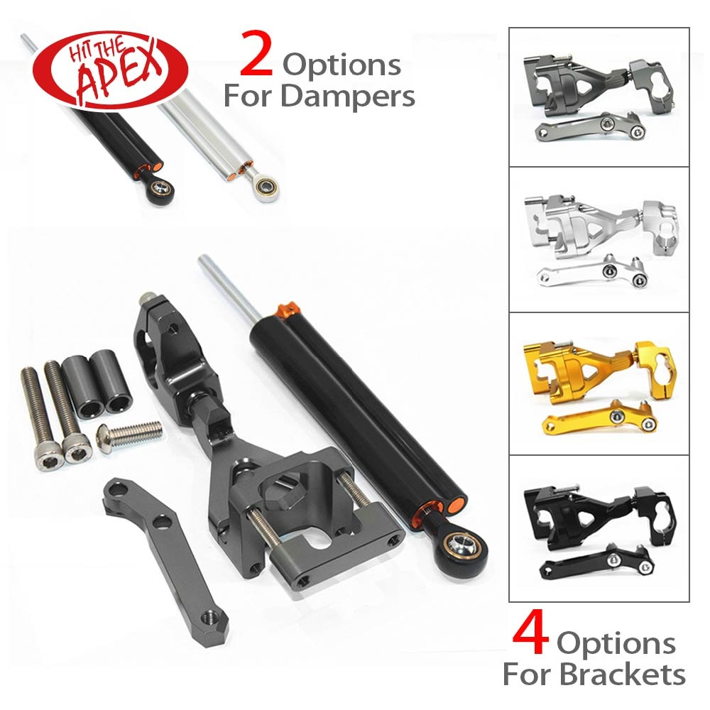 Steering Damper For Kawasaki Ninja K250 EX250 250R 2008 2009 2010 2011 CNC Stabilizer Set Linear Reversed With Mounting Bracket
