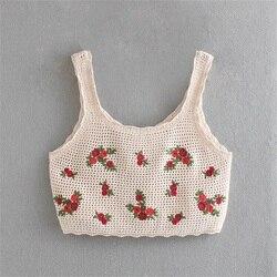 2020 nova primavera das mulheres de seda gelo bordado suéter curto parágrafo colete pesado indústria rosa padrão crochê camisa