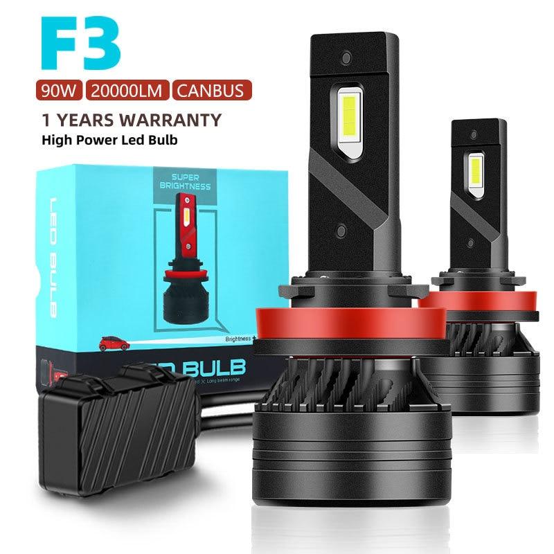 F3 90W H7 Led Canbus 20000LM High Power Headlight H1 H4 H8 H11 9005 9006 Hb3 9004 9007 H13 9012 Led Bulb Turbo Lamp For Car 2PCS