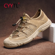 CYYTL Casual Leather Sandals for Men Outdoor Breathable Hiking Shoes Summer Closed Walking Hollow Ou