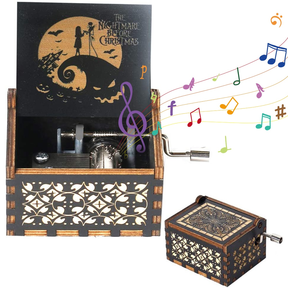 Halloween Hand Crank Wooden Music Box Elements Musical Boxes For Home Decoration Ornaments Birthday