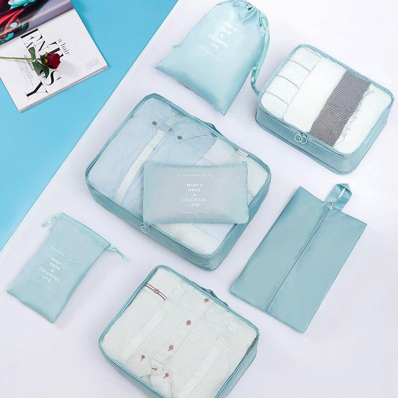 Bolsa de almacenamiento de viaje de ocho piezas de alta calidad Set de poliéster de gran capacidad impermeable bolsa de zapatos de acabado de ropa de equipaje