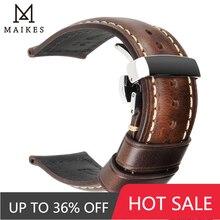 Maikes-correas de reloj de cuero genuino hechas a mano, Correa Universal con hebilla de mariposa, 18mm, 20mm, 22mm y 24mm