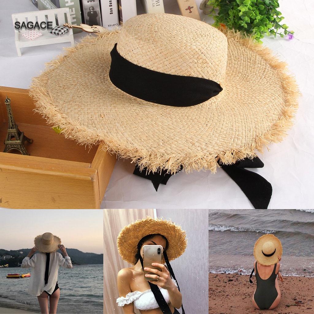 SAGACE Summer Sun Hat for Women Fashion Hawaiian Floral Visor Hat Ladies Wide Brim Straw Cap UV Empty roof Beach Cap Girls A310