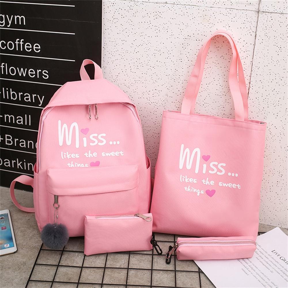 4PC Set Backpack Women Cartoon Alphabet Cute Student School Bags Back Pack Casual Large Capacity Travel Mochila Feminina Bagpack