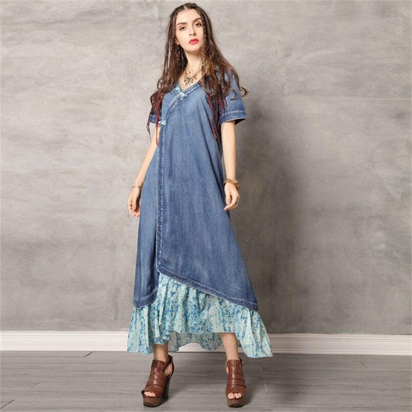 Женское джинсовое драпированное платье 2020, летние женские платья с круглым вырезом, коротким рукавом и оборками, женское винтажное платье ...