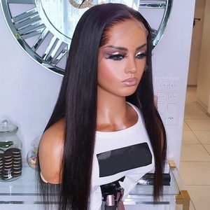 Natural Silky Straight Wigs With Bangs Long Synthetic Wigs Lace Front Wigs For Black Women Heat Resistant Fiber Hair Daily Wear