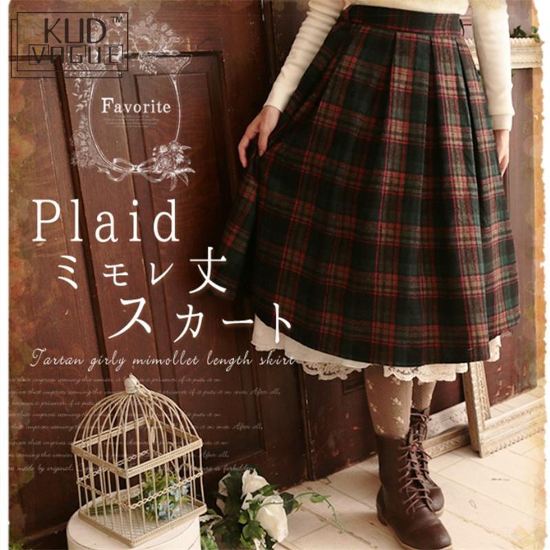 Lolita japonesa falda chica mori Otoño Invierno Vintage ropa de mujer gruesa lana Harajuku cintura elástica femenina falda Kawaii