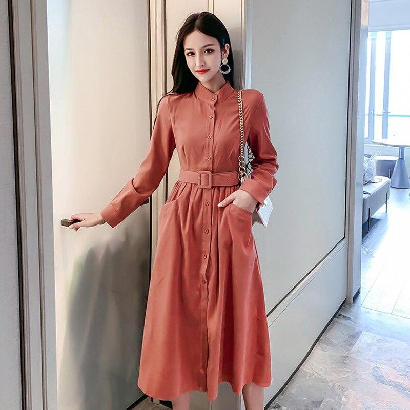 Nueva llegada de las mujeres de la manera cómodo vestido simple de la faja dulce del verano temperamento sólido elegante lindo vestido largo de línea a