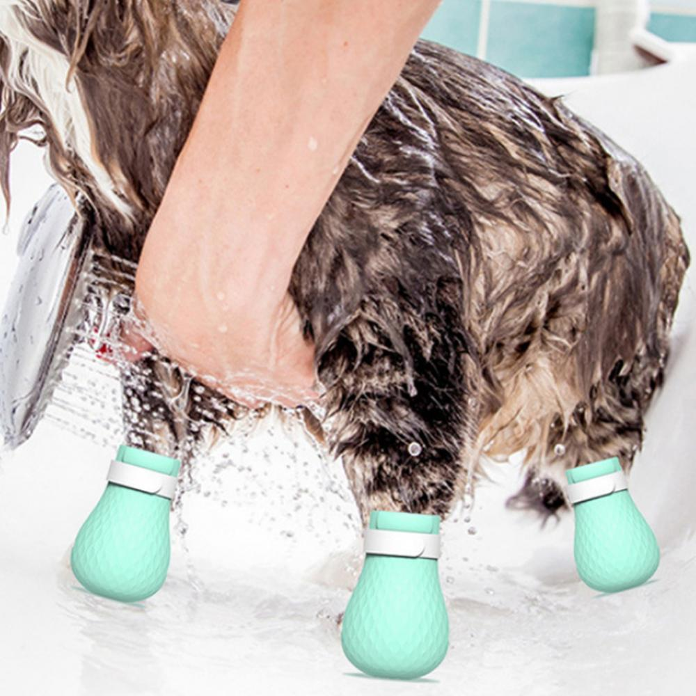 4Pcs Green Anti-Scratch Cat Shoes Kitten Silicone Grooming Boots Claws Cover Paw Protector Compact Non-slip Bathroom Products