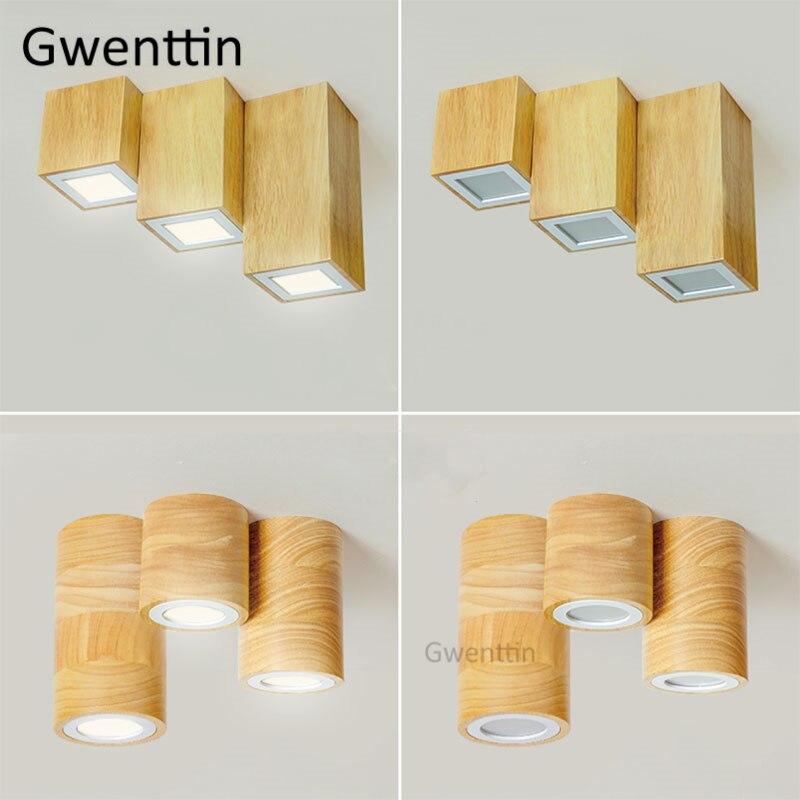 nordico quadrado redondo luzes de teto madeira moderna led lampada do teto para o