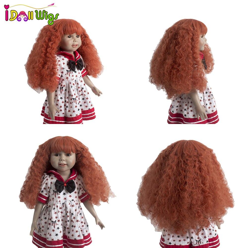 Big discount!26cm Head Circumference Doll Wigs Heat Resistant Fiber Orange Deep Curly Wigs for 18 inch American Dolls