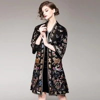 new winter heavy industry embroidery retro national wind thickening loose big size wool coat female long paragraph