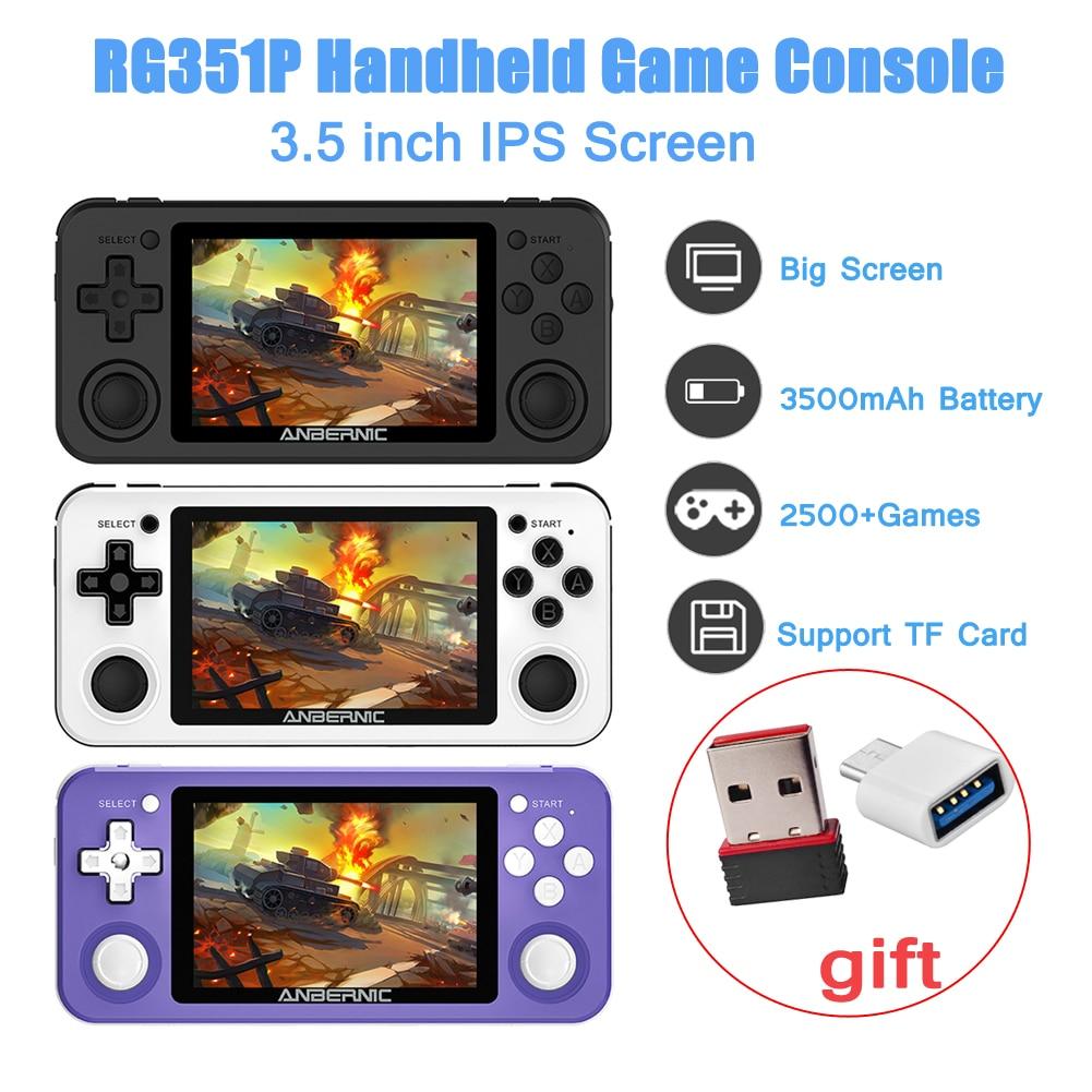 Rg351p retro jogo rk3326 64g open source system 3.5 polegada ips tela portátil handheld game console 2500 jogos de vídeo