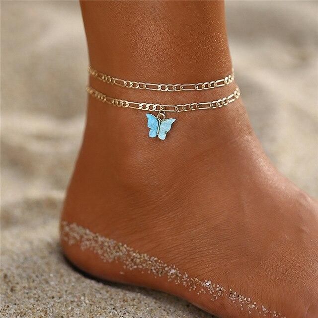 Nouveau tempérament papillon femmes cheville pieds nus sandales au Crochet or pied bijoux sur pied cheville Bracelets pour femme chaîne de jambe