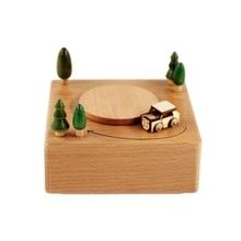 Wooden Music Box Base DIY Creative Car Driving Rotation Decorative Ornaments Kids Christmas Gift