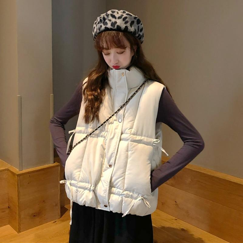 Stand Collar Coat Cotton Jacket Vest Autumn Winter Korean 2021 New Chic Design Sense Drawstring Slee