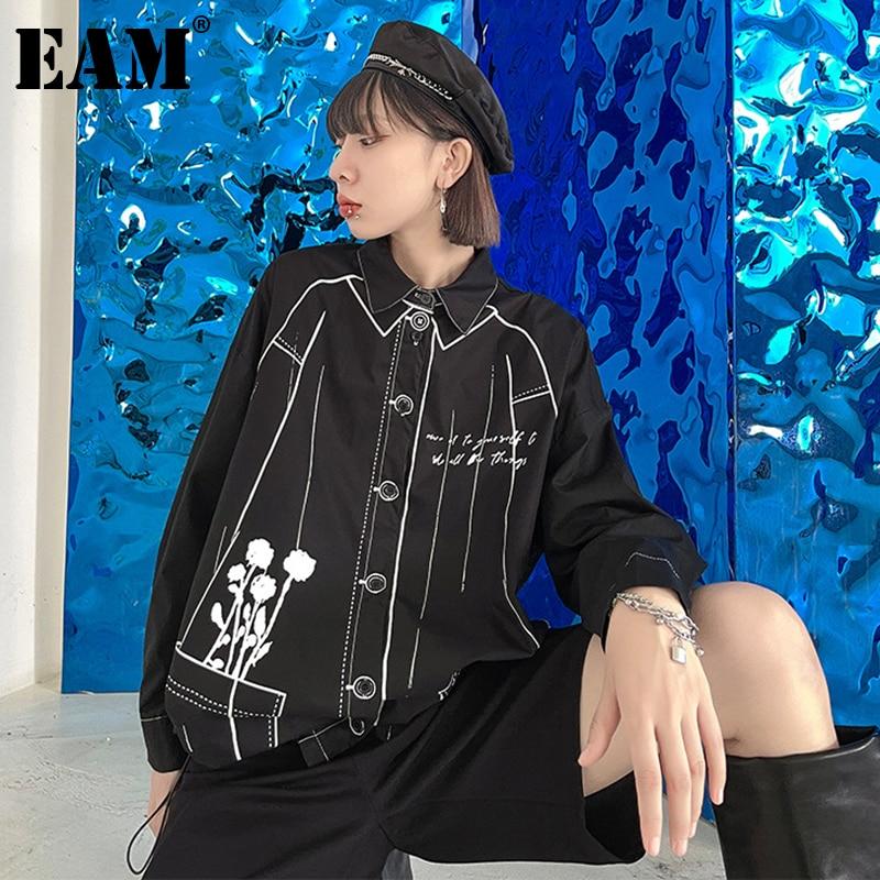 [EAM] فضفاضة تناسب الأسود مطبوعة كبيرة الحجم سترة غير رسمية جديدة التلبيب كم طويل المرأة معطف الموضة المد الربيع الخريف 2021 1DE1717