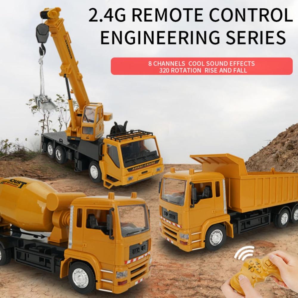 2,4G, Control remoto, vehículo de ingeniería, agitador giratorio, tanque mezclador, coche, juguete educativo con batería para preescolar, Hom