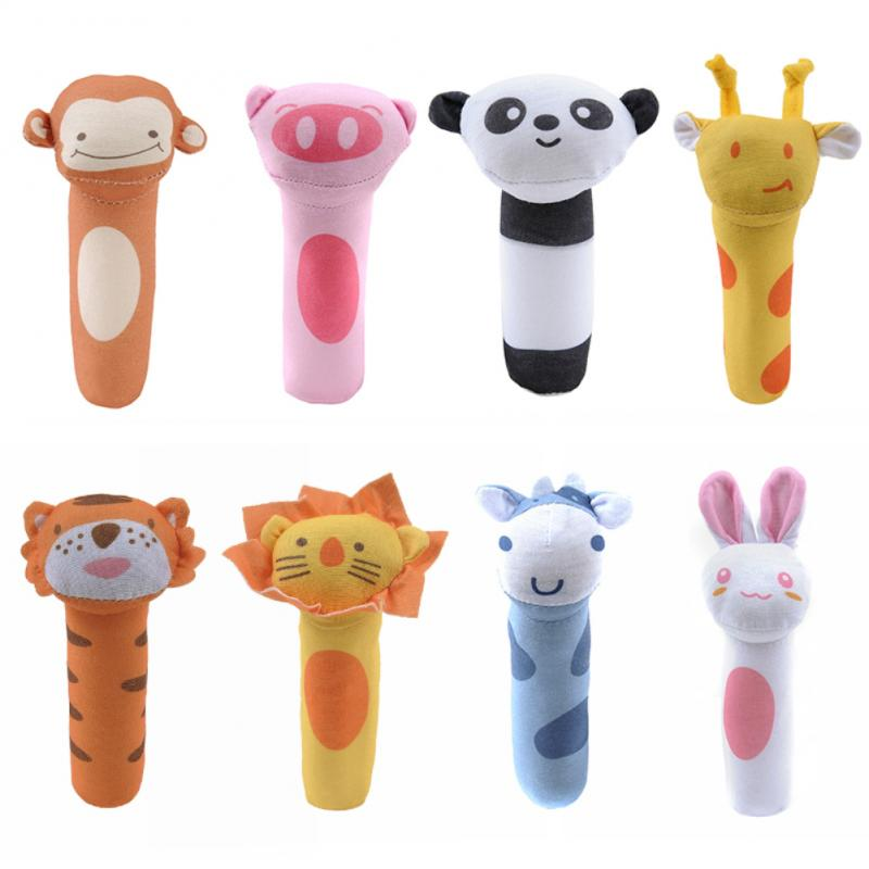 Baby Rattle Classic Toys Carton Animal Handbells Baby Soft Bed Bells Rattle Baby Hand Grip Rod Toys