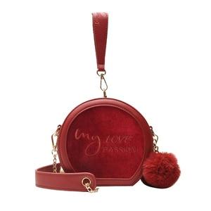 Letter Embroidery Handbag Velvet and leather Patchwork Women Bag Winter Hairball Circular Lovely Small Shoulder Hand Bag