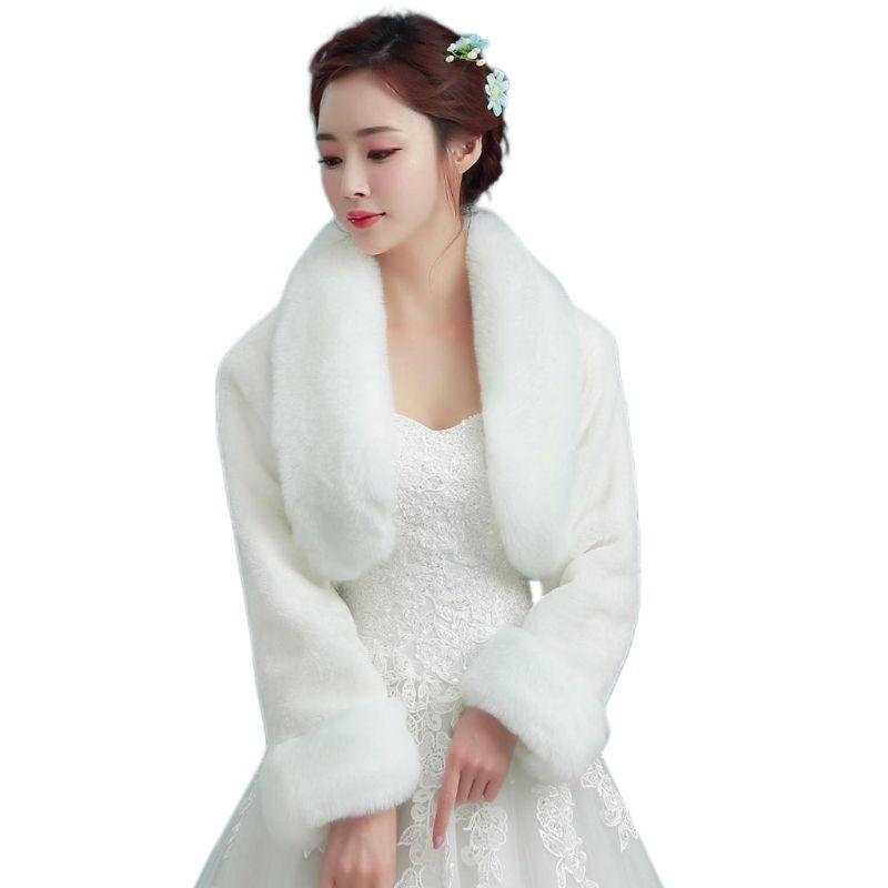Chal de novia Vintage blanco de felpa para envolver, chal de manga larga, capa de fiesta de noche, chaqueta de boda gruesa de princesa