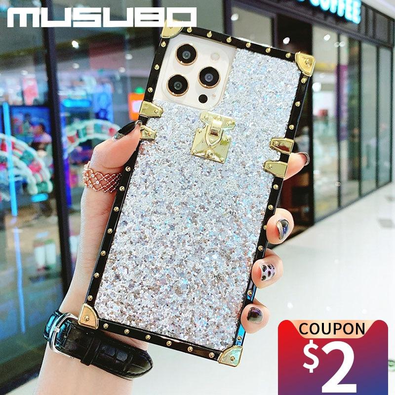MUSUBO Luxus Platz Glitter Telefon Fall Für Samsung Galaxy S20 Fe S8 S9 S10 A70 A71 A51 Hinweis 20 Ultra 10 Plus Mädchen Soft Cover
