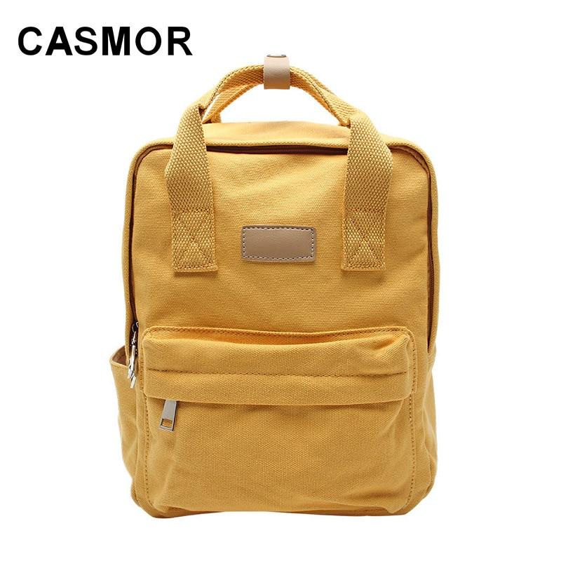 Casmor-حقيبة ظهر نسائية على الطراز الكوري ، حقيبة قماشية متناسقة ، حقيبة طالب ، لون عادي ، 2020
