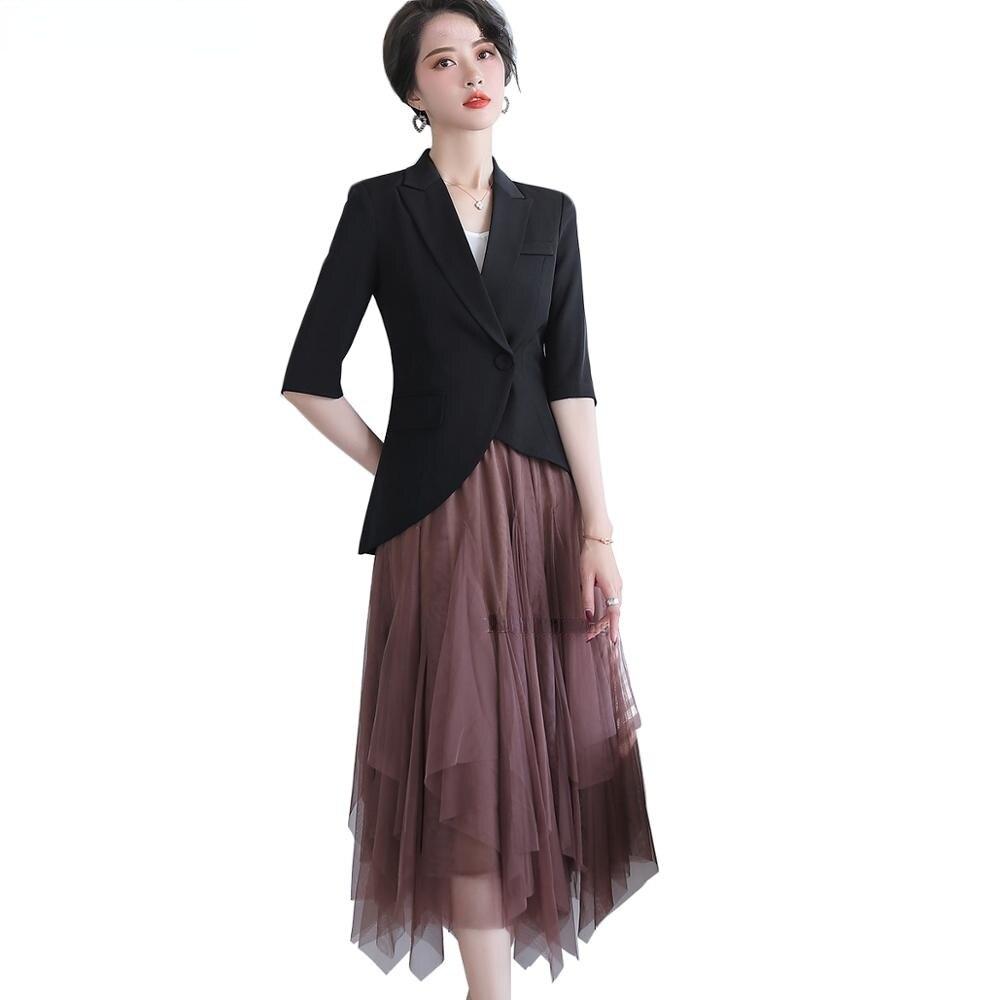 موضة النساء فتاة زر واحد سترة سهرة لل زفاف الصيف الربيع أبلى نصف كم أسود أبيض جاكيتات معطف S-4XL