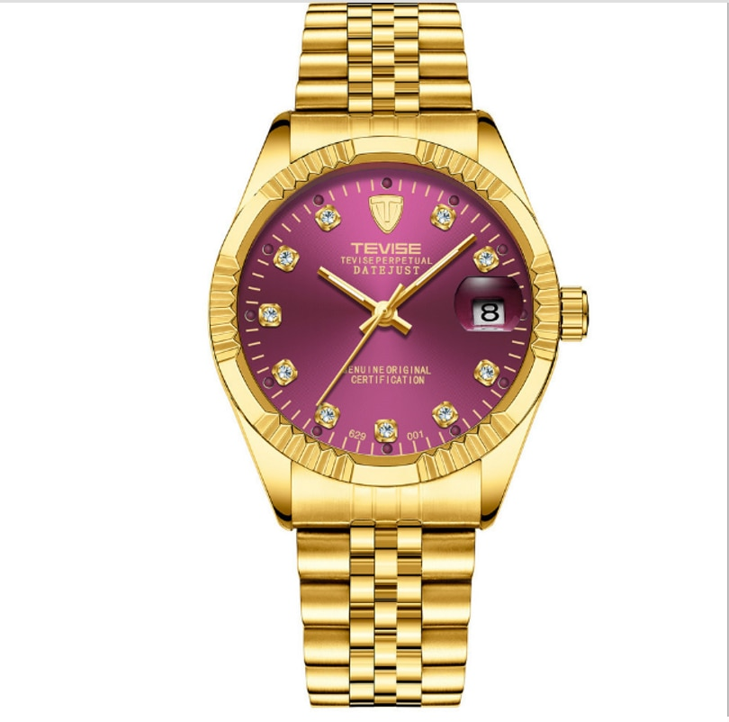 TEVISE Luxury Crystal Diamond Automatic Mechanical Date Mens Watches Stainless Steel Bracelet Classi
