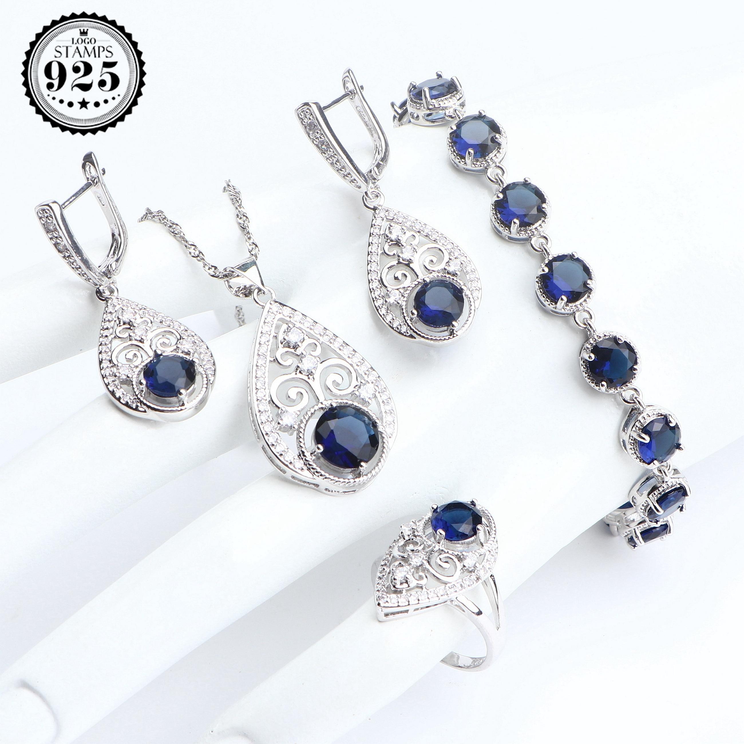 Conjuntos de joyería de plata de circón azul 925, pendientes para mujer, joyería de boda, brazalete de piedra, anillo, conjunto de colgante de collar