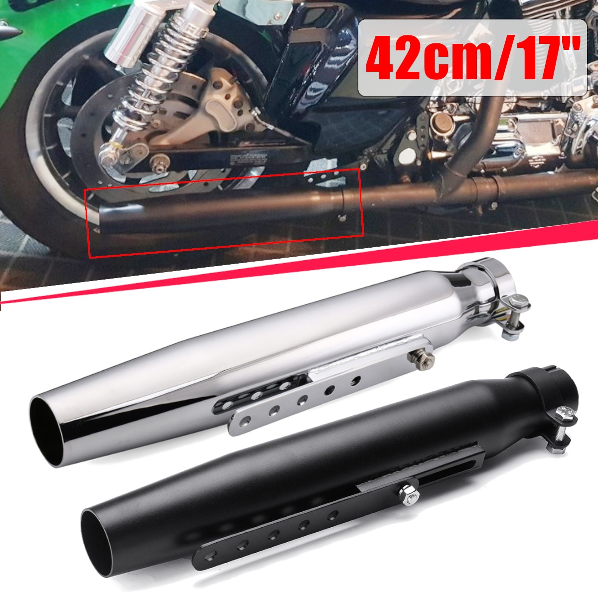 Universal 17'' Motorcycle Exhaust Muffler Pipe Tip Retro Vintage Rear Pipe Tube Exhause Silencer For Harley Bobbers Cafe Racer