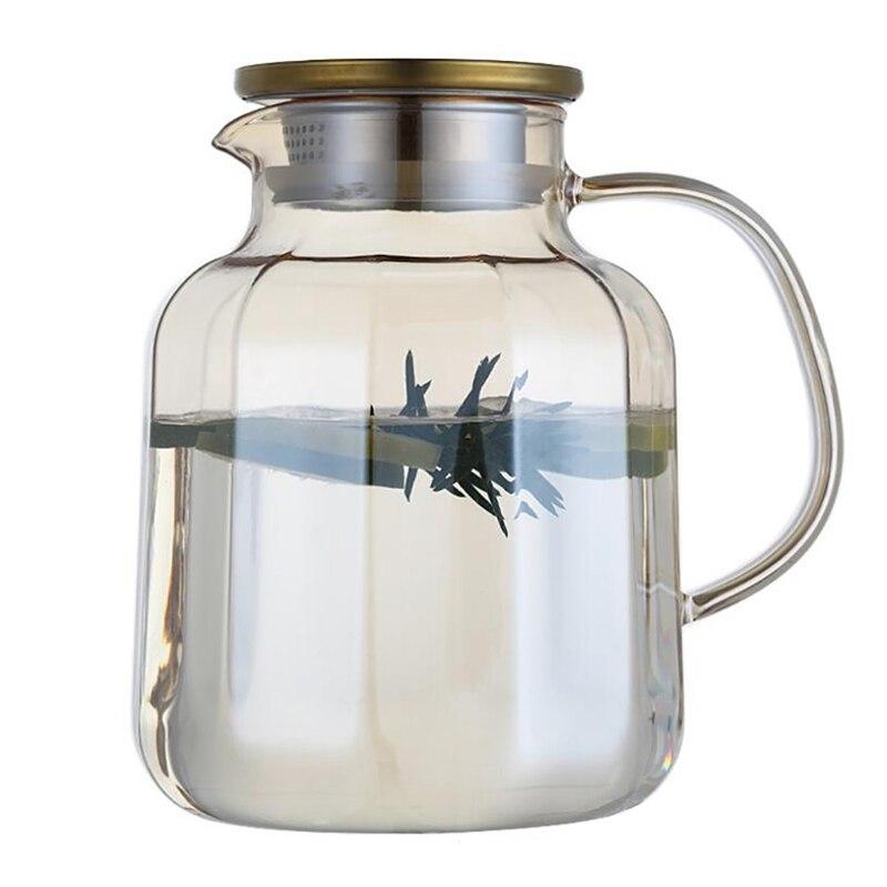 67Oz الزجاج إبريق مع غطاء مثلج الشاي إبريق إبريق ماء الماء الساخن الباردة شاي مثلج النبيذ القهوة الحليب والعصير المشروبات Carafe