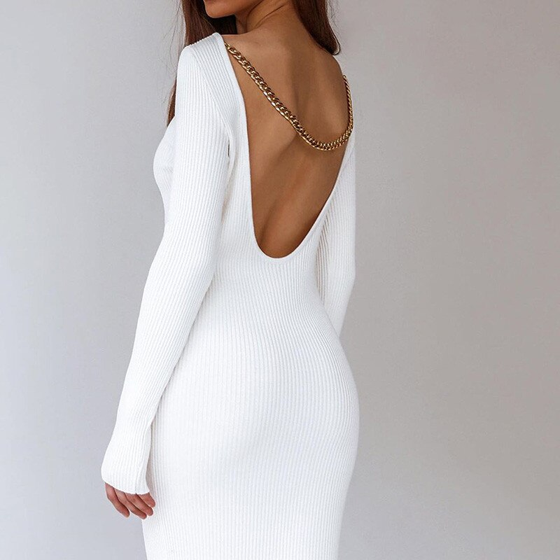 Lady chain sem costas costas abertas bodycon vestidos manga longa fora do ombro magro estiramento sólido casual vestido de festa para o sexo feminino