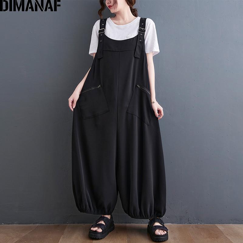 DIMANAF 2021 الصيف حجم كبير النساء حللا وزرة المعتاد سيدة الموضة السراويل الطويلة فضفاضة بناطيل كاجوال الصلبة الأسود 6XL