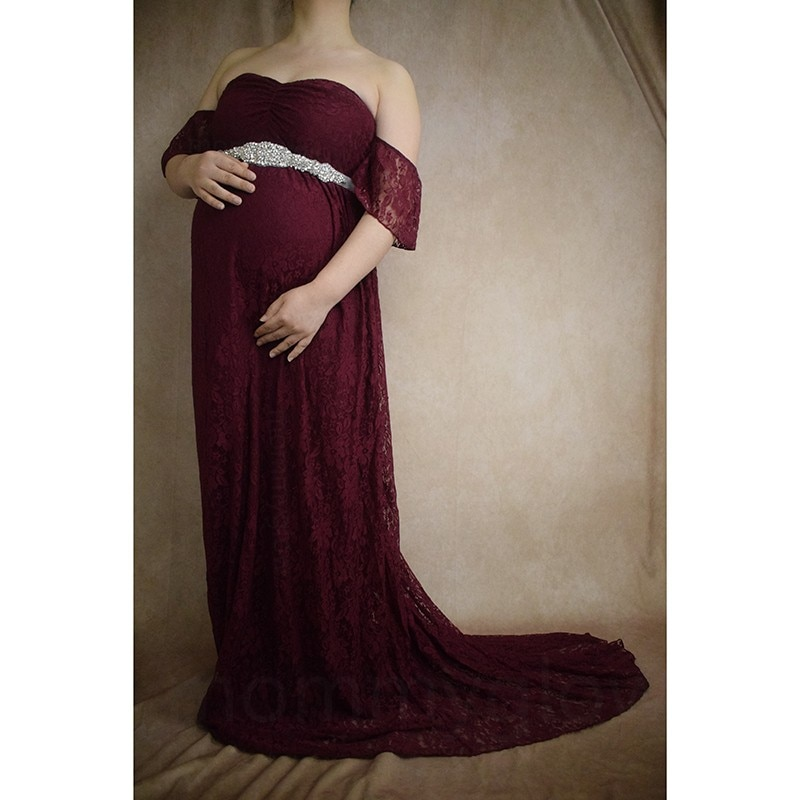 Pregnancy Gowns For Photo Shoot Dresses For Pregnant Women Baby Shower Dress Maternity Photography Tail Ground Dress Lace