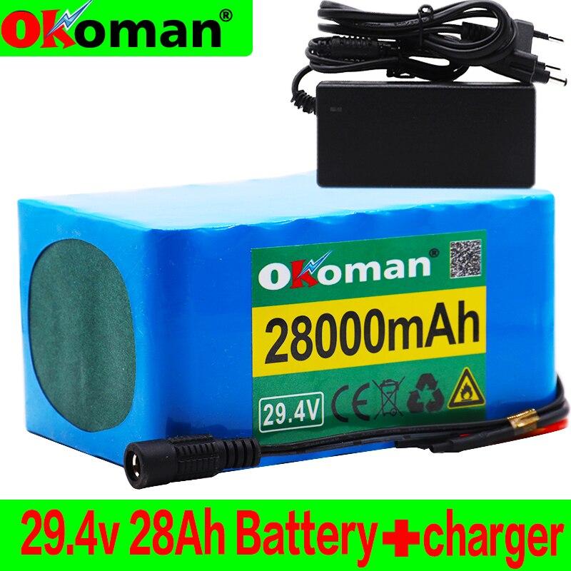 Paquete de batería 7S5P 24v 28Ah 250w 29,4 V 28000mAh batería de iones de litio para silla de ruedas Paquete de bicicleta eléctrica con cargador BMS + 2A