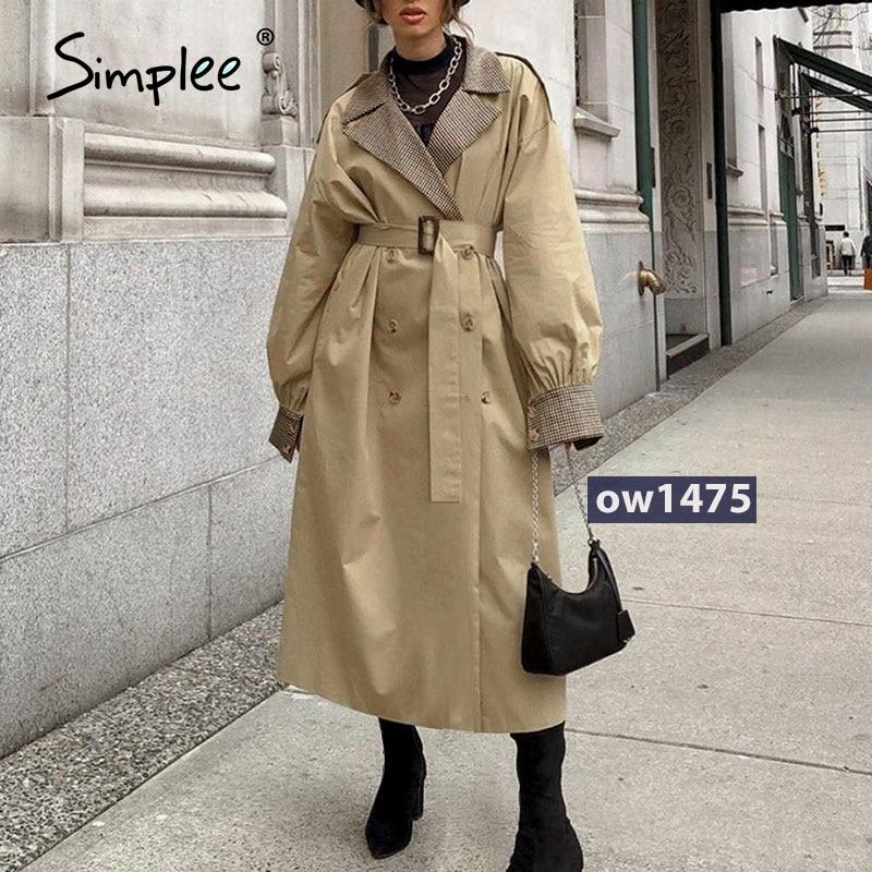 Simplee Causal light tan autumn women trench coat Split joint elegant long sleeve coat Plaid long co