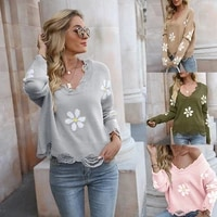2021 women sweaters autumn winter tops pullover o neck long sleeve knitted floral print hole soft warm korea style coat outwear