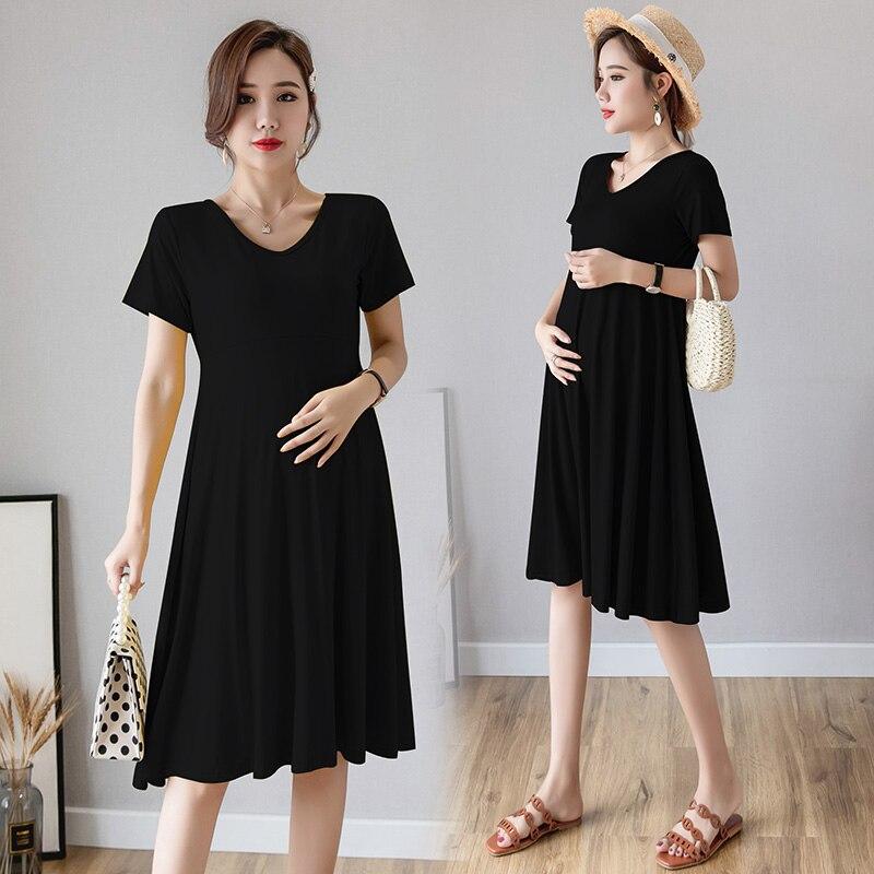Pregnancy Dress Summer Short Sleeve Women Elegant Maternity Gowns Korean Clothes Dresses