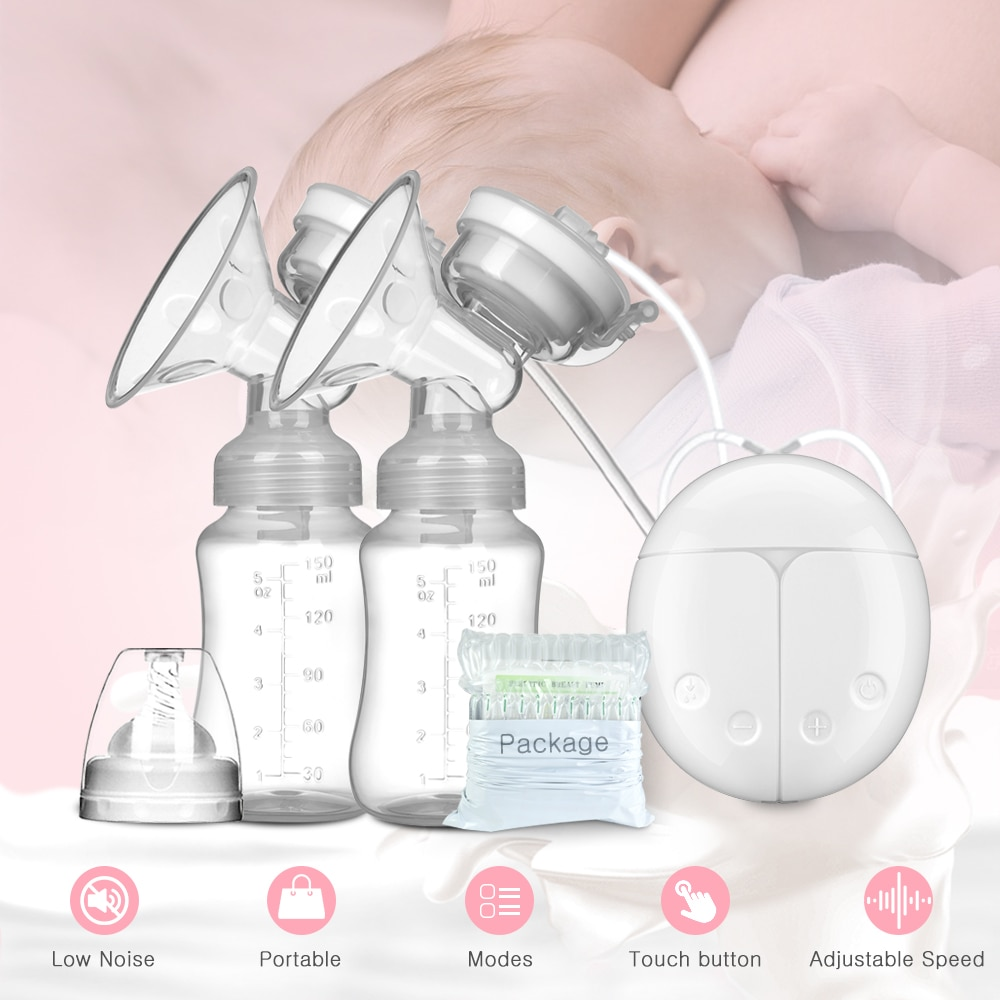Молокоотсос двухсторонний для детей, послеродовые принадлежности, Электрический молокоотсос с питанием от USB