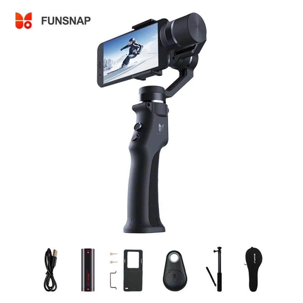 Funsnap يده Gimbal كاميرا حامل استقرار اللاسلكية بلوتوث الهاتف Selfie عصا الهاتف الذكي ترايبود Gimbal استقرار Recor