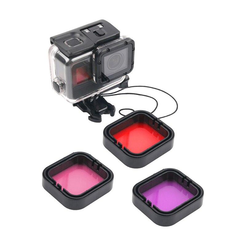Carcasa impermeable de 40m, paquete de 3 filtros para buceo, Kit de filtro de Color rojo Magenta para objetivos para GoPro Hero 5 6 7, accesorio negro