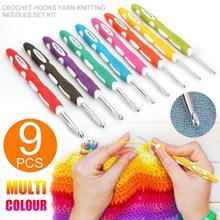 9 шт./компл., цветные инструменты для ручного вязания, пластиковые аксессуары для вязания крючком, алюминиевая двухцветная игла TPR F6N3
