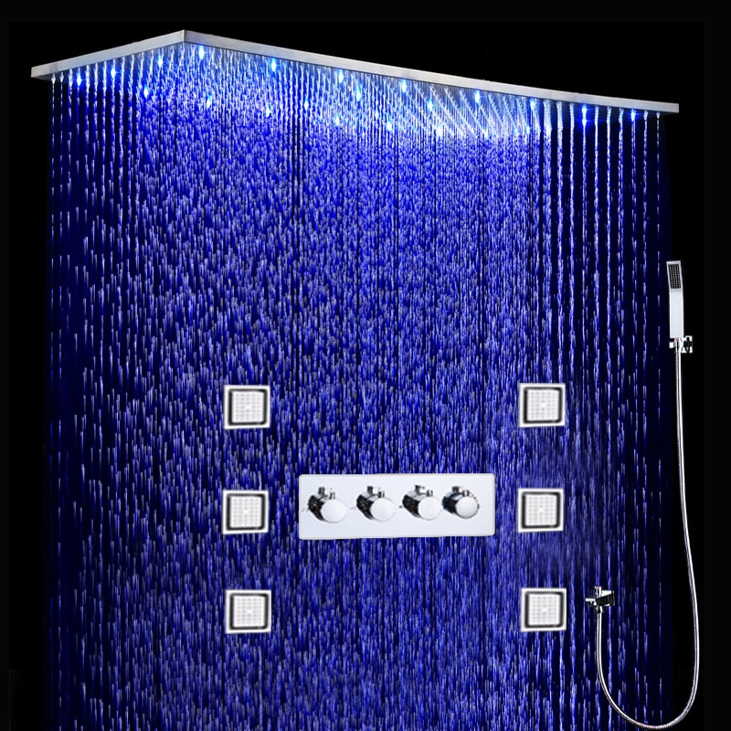 Bathroom LED Shower Set 500x1000MM Ceiling Large Rain Shower Head Panel Thermostatic Shower Faucets With Massage Body Jets Set black shower set luxurious bath system large rain waterfall concealed led shower head 600x800mm with thermostatic shower faucets