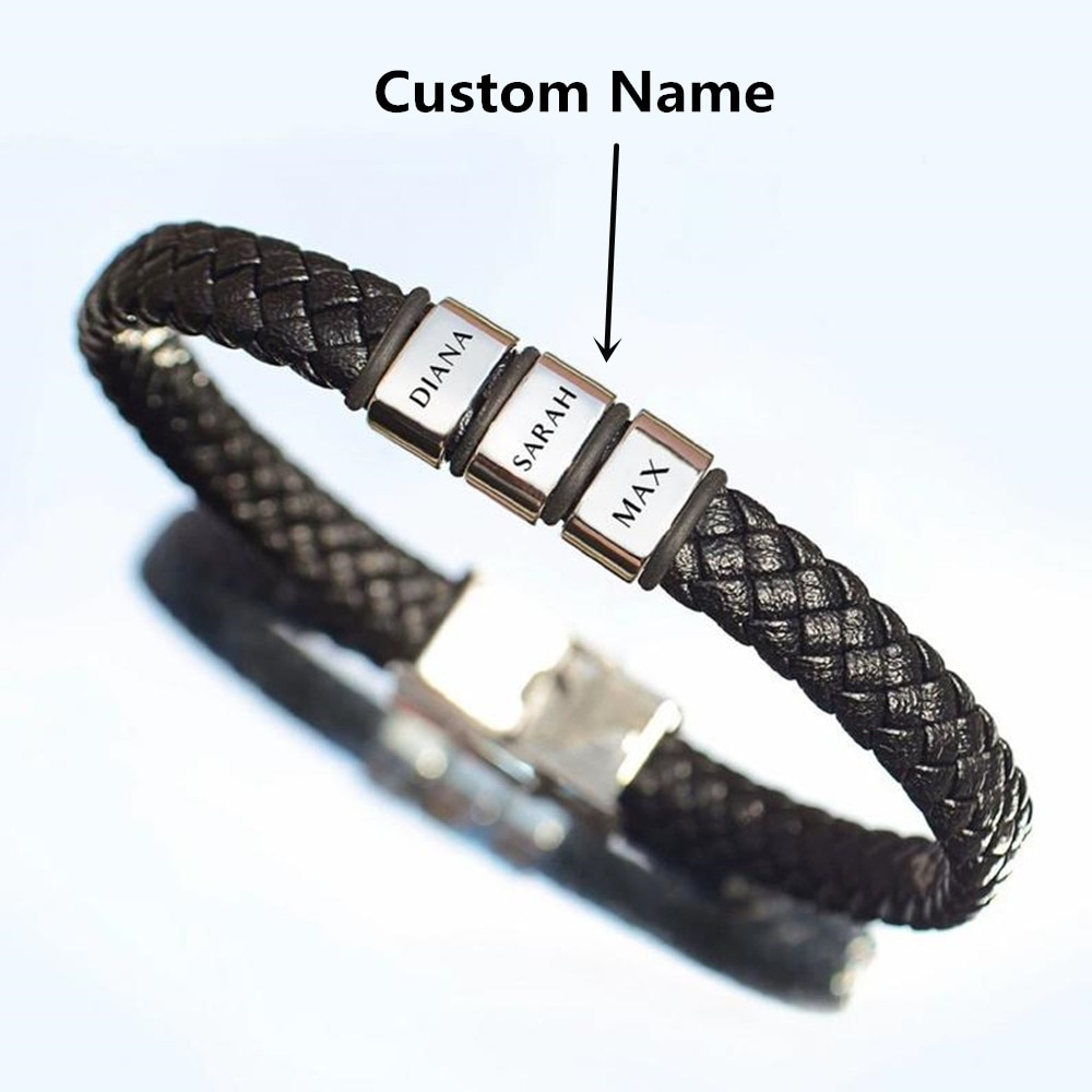 Personalized Genuine Leather Braided Rope Bracelets For Mens Custom Name Bracelets 1-9 Names Beads Jewelry Gift With Gift Box personalized stainless steel braided rope charm bracelets custom name leather bracelet with 2 5 names beads for family men gifts