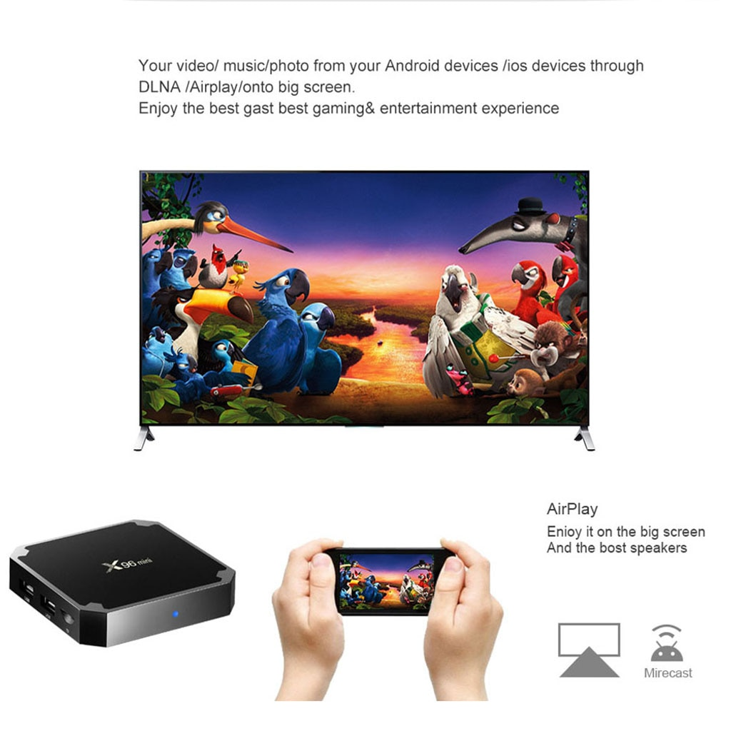 Caixa de tv inteligente x96 mini android 7.1 s905w 1gb ram 8gb hdtv 4k iptv 5 linguagem de núcleo muti-linguagem