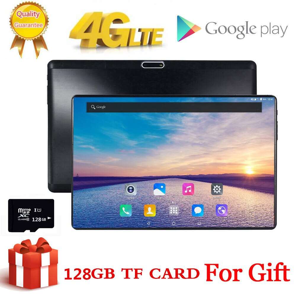 Regalo gratis, tarjeta TF de 128GB, pantalla de cristal templado 1920X1200 2.5D, 10 pulgadas, 8 Octa Core, 3G, 4G, LTE, tableta, pc, 3GB, RAM, Android 7,0, tabletas
