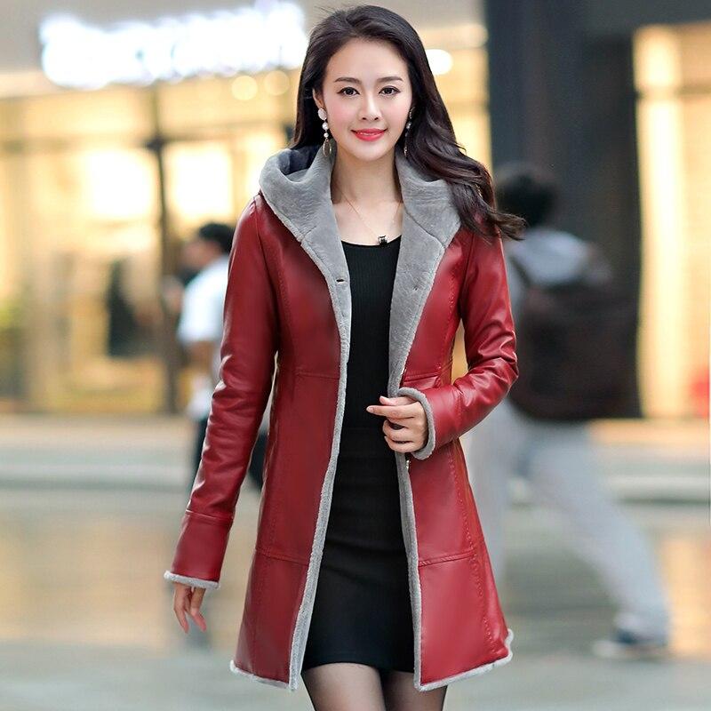 Autumn Winter Fur Leather Coat Women 2019 Slim Warm Soft PU Fur Leather Jacket Hooded Long Coats Women Overcoat Plus Size 6XL enlarge